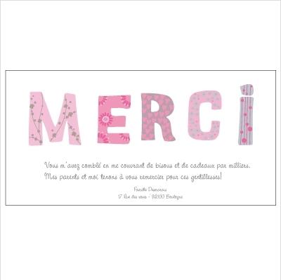Carte de remerciements Patchwork tonalité rose