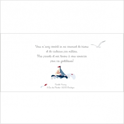 Carte de remerciements petit matelot