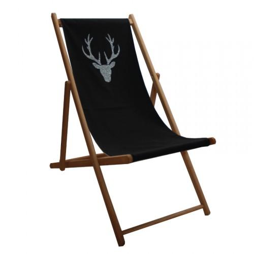 Chaise longue toile coton cerf personnalisable