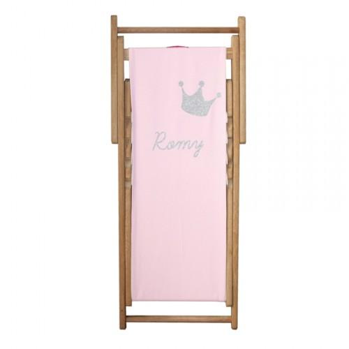 Chaise longue toile coton couronne personnalisable
