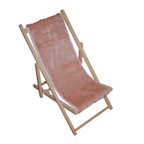 Chaise longue fausse fourrure rose