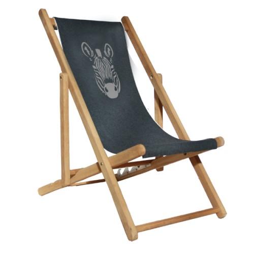 Chaise longue toile flanelle zèbre personnalisable