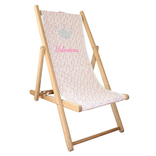 Chaise longue toile liberty couronne personnalisable