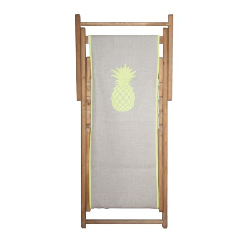 Chaise longue toile lin ananas personnalisable
