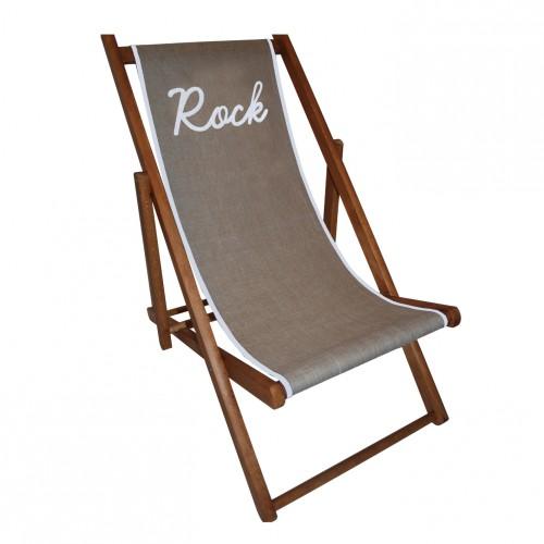 Chaise longue toile lin