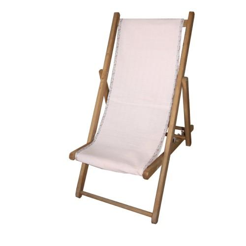 Chaise longue toile swaddle rose biais liberty