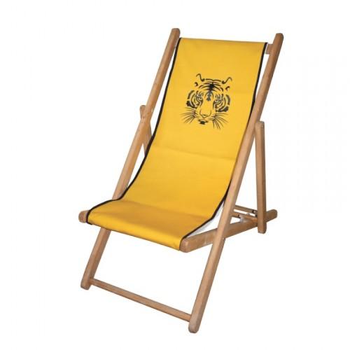 Chaise longue toile coton tigre personnalisable