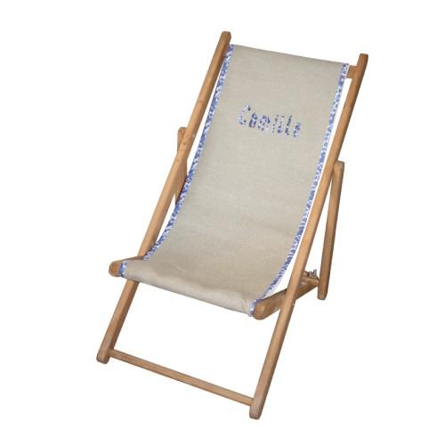 Chaise longue toile lin prénom liberty personnalisable