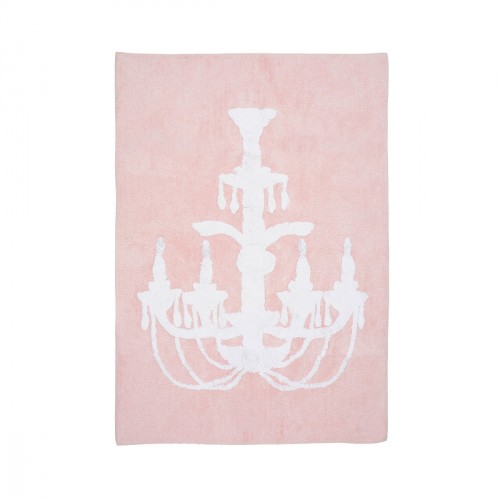 Tapis enfant coton chandelier rose