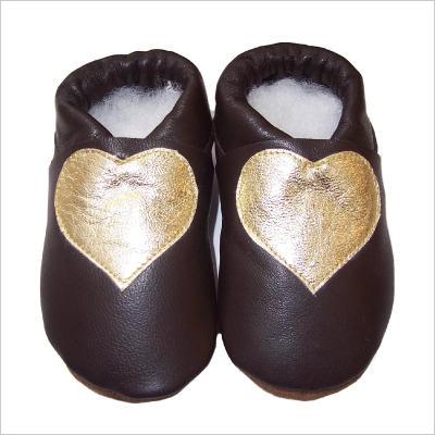 Chaussons brun motif coeur Doré