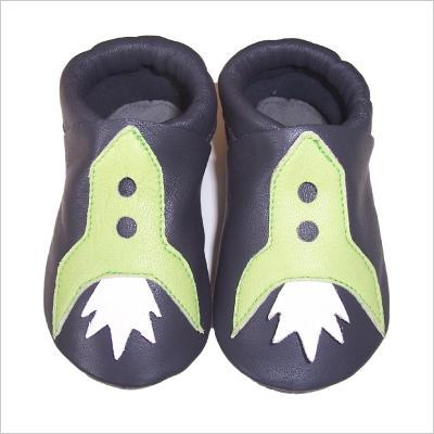 Chaussons gris Fusée verte