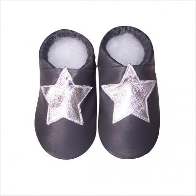 Chaussons Noirs Motif étoile argentée