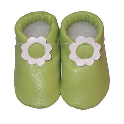 Chaussons vert Fleur blanche