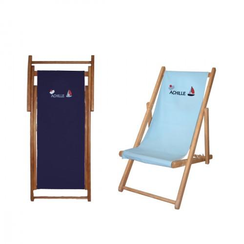 Chaise longue toile coton marin personnalisable
