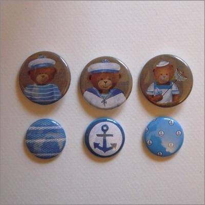 Collection de 6 badges assortis ours garçons