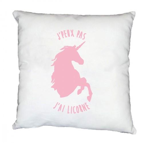 Coussin tête de licorne j'peux pas rose pale
