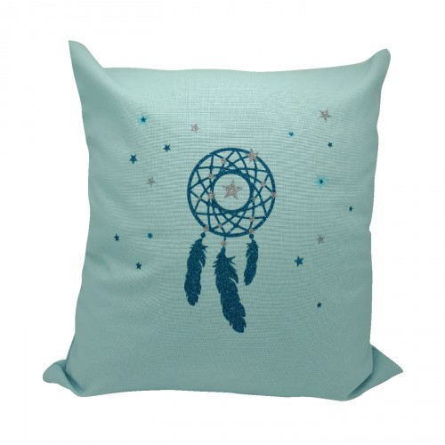 Coussin attrape-rêves bleu turquoise