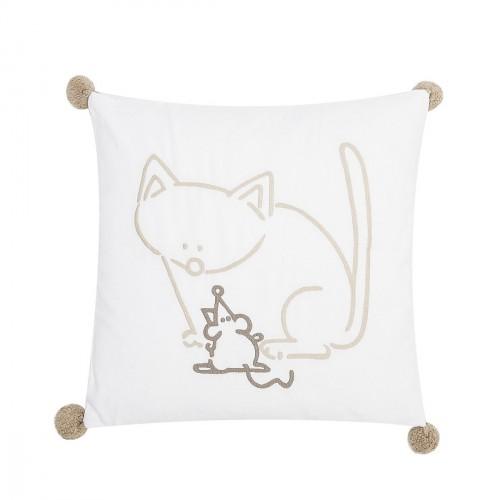 Coussin brodé chat et souris