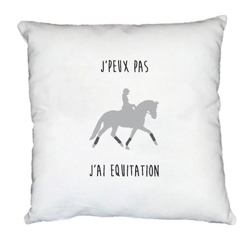 Coussin j'peux pas j'ai équitation personnalisable cavalière grise
