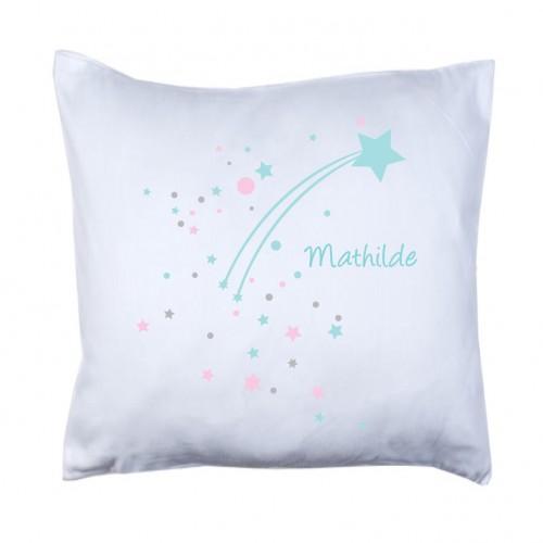 Coussin étoile filante neige bleue étoilée personnalisable
