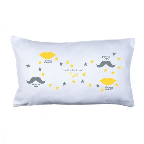 Coussin bisous family jaune