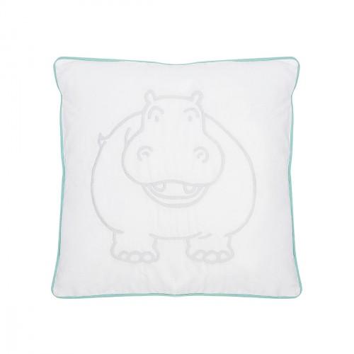 Coussin brodé hippopotame