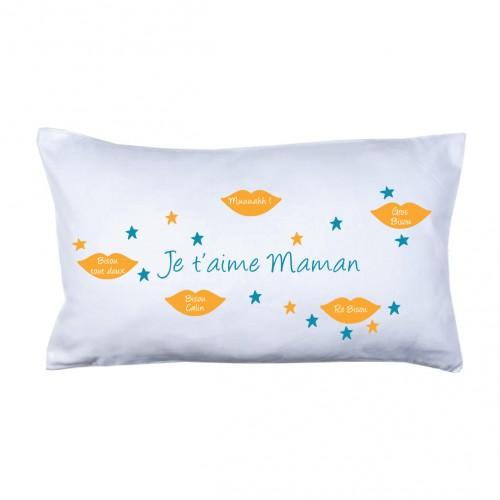 Coussin bisous maman orange et bleu canard