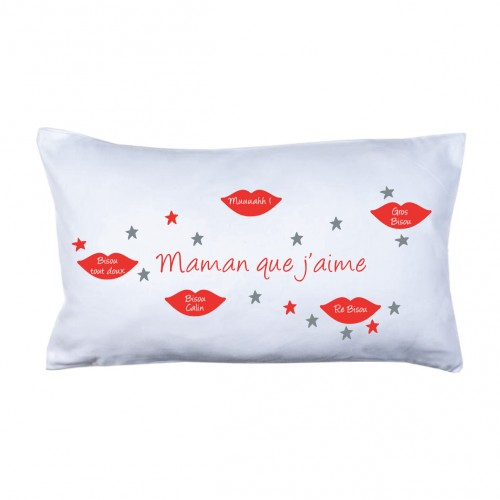 Coussin bisous maman rouge