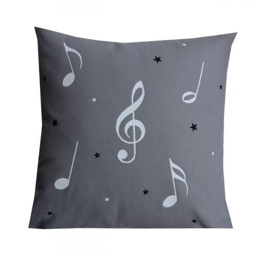 Coussin notes de musique gris pailleté