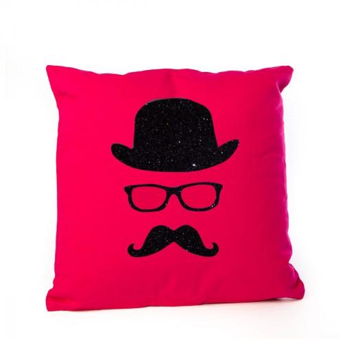 Coussin chapeau melon et moustache