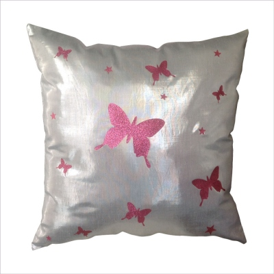Coussin argent papillons roses