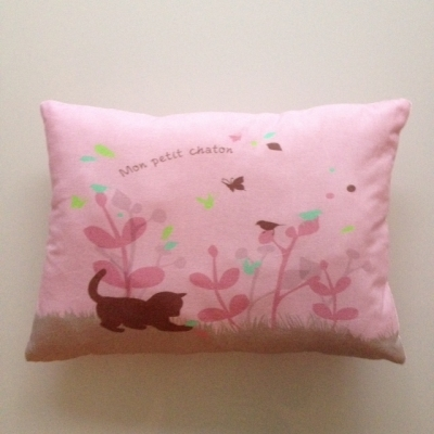 Coussin chaton rose rectangle
