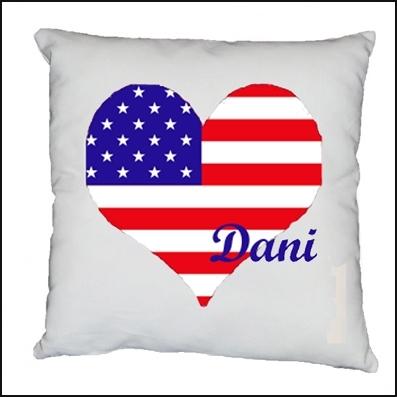 Coussin coeur drapeau americain personnalisable