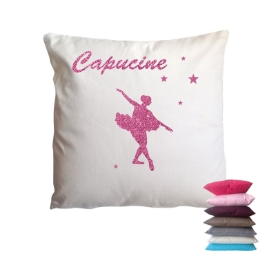 coussin sissi danseuse etoile rose paillete lili pouce boutique d co chambre b b enfants et. Black Bedroom Furniture Sets. Home Design Ideas