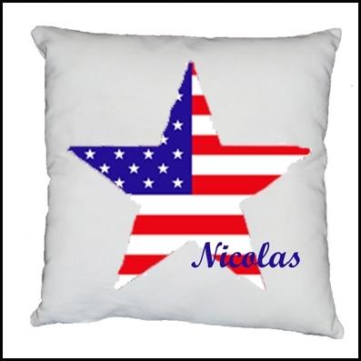 Coussin etoile drapeau americain personnalisable