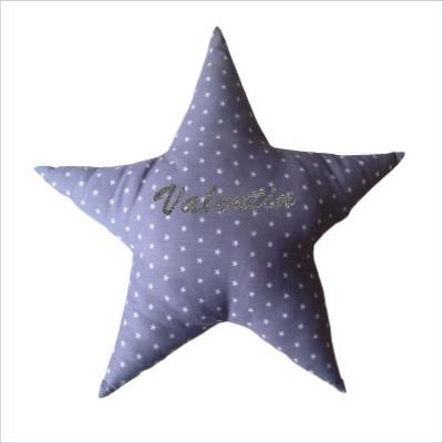 Coussin etoile grise étoilée de petites étoiles blanches personnalisable