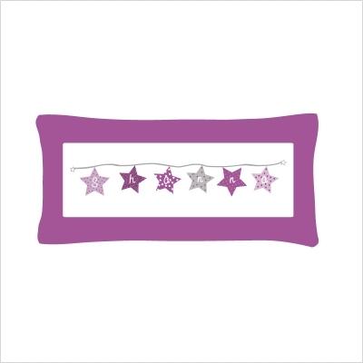 Coussin guirlande étoiles violet personnalisé