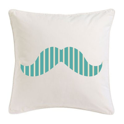 Coussin moustache rayures turquoises