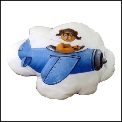 Coussin ours en avion bleu personnalisable