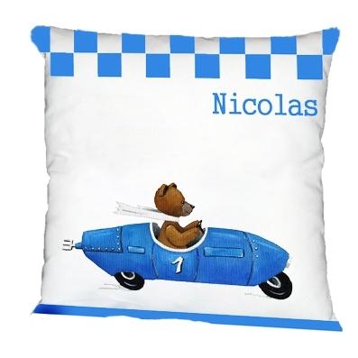 Coussin ours en voiture bleue avec damier personnalisable