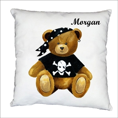Coussin Ourson pirate morgan personnalisable