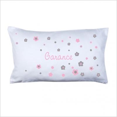 Coussin prénom fleurs rose et grises