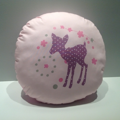Coussin rond faon rose
