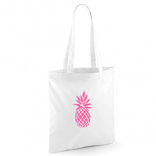 Tote bag blanc ananas rose fluo