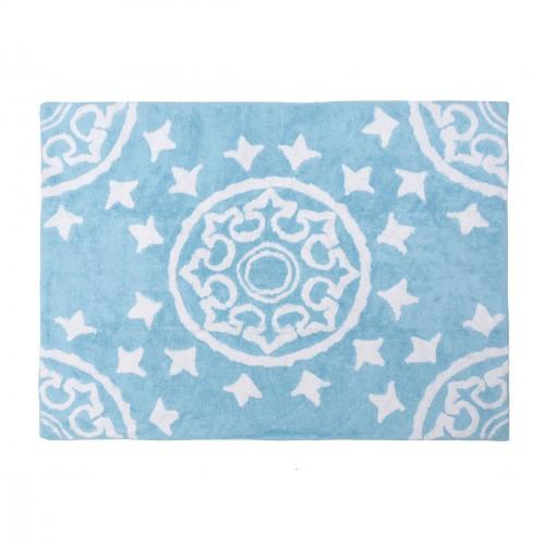 Tapis enfant coton motifs géométriques Duna bleu