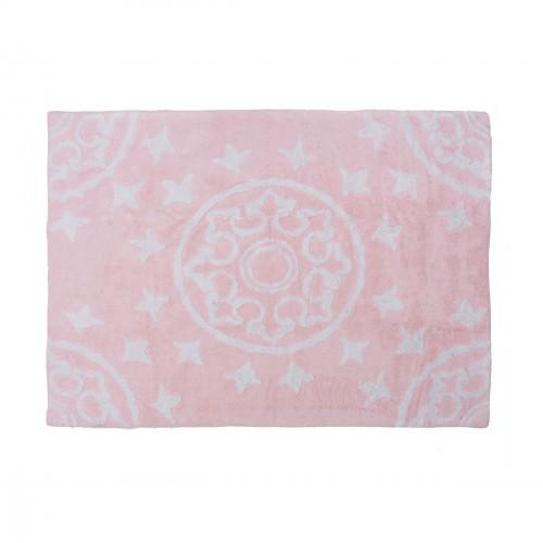 Tapis enfant coton motifs géométriques Duna rose