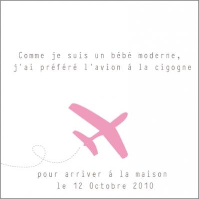 Echantillon Faire part d'adoption avion rose