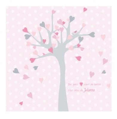 Echantillon Faire part de naissance arbre à coeurs rose et gris