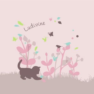 Echantillon Faire part de naissance chaton rose