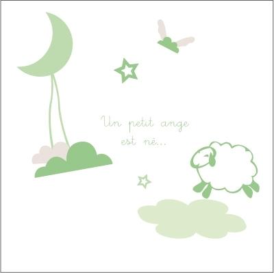 Echantillon Faire part de naissance doux rêve Vert